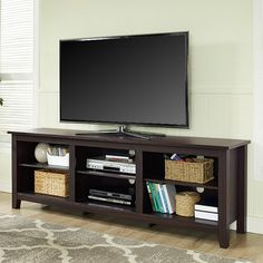 Walker Edison Essentials TV Stand - Entertain everyone with the Walker Edison Essentials TV Stand. Truly an essential, this contemporary, low-key TV stand features six spacious&#...