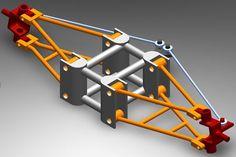 Mechanisms on Matlab and Lean steering for recumbent trike CAD. Kit Cars, Go Kart Frame, Homemade Go Kart, Go Kart Buggy, Go Kart Plans, Velo Cargo, Diy Go Kart, Reverse Trike, Sand Rail