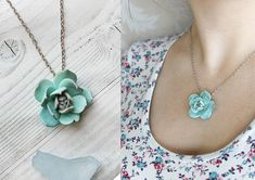 Pendant with pale blue succulent .  It is a beautiful gentle flower for those who love succulents. The pendant is made of polymer clay, it is light and durable, it can be bent and washed.  Diameter: 25mm Chain length: 45 cm (18 in)  If you want a different chain length, then write to me.  More