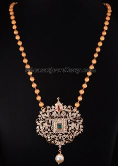 Diamond Pendant with Gold Beads Chain Gold Beads, Diamond Pendant