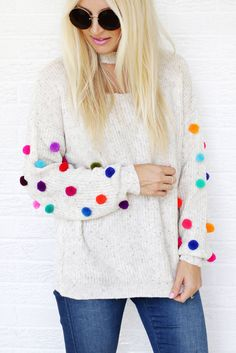 Pullover mit Pompoms pimpen l Mode Hack l Pom pom sweater DIY