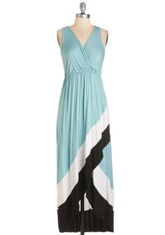 Type Bay Personality Dress - Blue, Black, White, Solid, Casual, High-Low Hem, Sleeveless, Spring, Knit, Long, Maxi, V Neck