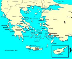 Map of area around Bodrum - so close to the Greek islands for day trips