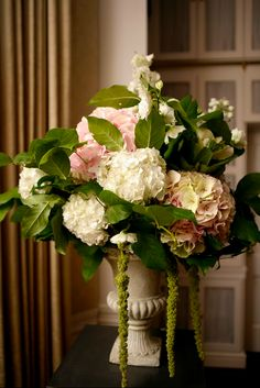 mixed hydrangea in an urn for the ceremony - in case cherry blossoms are not available