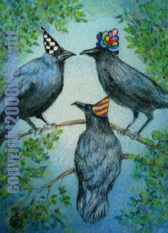 Another ACEO done in 2008. Silly partying crows. Watercolor and colored pencil.