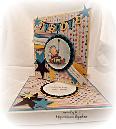 Lili of the Valley - 'Bang the Drum' 1st birthday card with matching box. paperlicious oasis