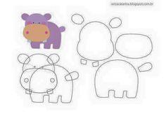 Amigas do Feltro! Hippo felt, flodhest i filt Animal Templates, Felt Templates, Applique Templates, Card Templates, Felt Animal Patterns, Stuffed Animal Patterns, Felt Diy, Felt Crafts, Sewing Crafts