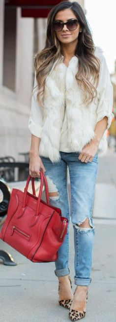 Mia Mia Mine Ivory Faux Fur Vest Fall Streetstyle Inspo