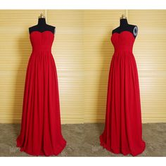 DressPerfect Simple Red Long Chiffon Bridesmaid Dress ($99) ❤ liked on Polyvore featuring dresses, black, women's clothing, women dresses, prom dresses, black cocktail dresses, bridesmaid dresses and long black dress