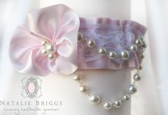 Soft Pink embellished Satin Garter inspired by Vera Wang