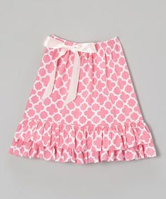 Love this Pink Quatrefoil Ruffle Skirt - Toddler & Girls by Lily Aurora on #zulily! #zulilyfinds
