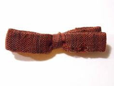 "Vintage Best Clip Bow Tie Orange & Brown Stripe Slim 4.5"" Wide Clip On Mad Men"