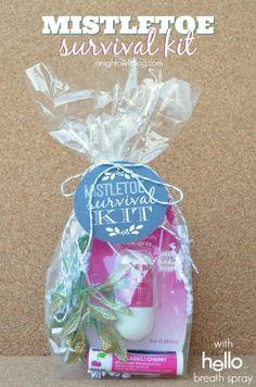Such a fun gift idea this holiday season - Mistletoe Survival Kit with Hello breath spray!