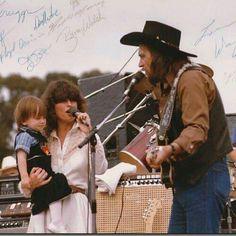 Waylon Jennings, Jessi Colter, & Shooter Jennings on stage together