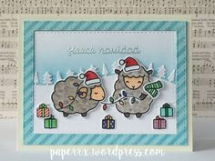 Lawn Fawn - Baaah Humbug, Forest Border, Stitched Hillside Borders _ gorgeous and perfectly detailed card by Ali T at Paper Rx