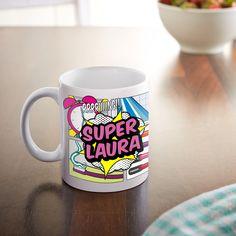 Mit unserer Comic Tasse für Frauen - Superfrau - Personalisierter Becher wird der Morgenkaffee zum Superelixier.