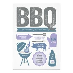 BBQ Barbecue 50th Birthday Party Summer Cookout Personalized Invitation