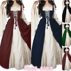 Womens Long-sleeved Lace Medieval Long Dress Retro Dress - Lace Dresses - Ideas of Lace Dresses Renaissance Fair Costume, Renaissance Dresses, Diy Medieval Costume, Medieval Fashion, Medieval Clothing, Medieval Outfits, Old Fashion Dresses, Fashion Outfits, Pretty Dresses