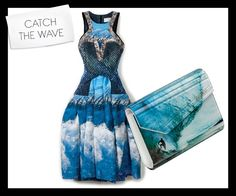 Peter Pilotto and silk W dress in wave blue with a Jimmy Choo Candy clutch; we need the waves for the Mavericks Surf Contest in California!