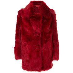 Prada shearling oversized coat ($4,688) ❤ liked on Polyvore featuring outerwear, coats, red, prada, prada coat, shearling coats, long sleeve coat and oversized coat