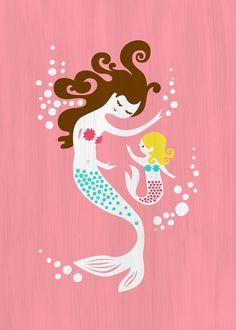 "5X7"" mermaid mother & daughter giclee print on fine art paper. smoothie pink, teal blue, brunette, blonde."