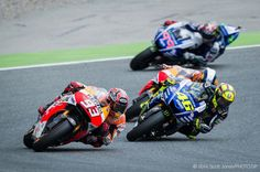 Valentino Rossi, Catalunya, 2014.  Hmm, keep forgetting who that # 93 is.  Hah!