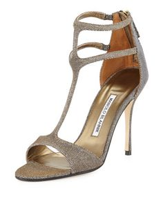 Cellin Metallic Fabric Strappy Sandal, Bronze by Manolo Blahnik at Bergdorf Goodman.