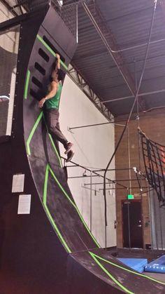 Warped wall American Ninja Warrior Obstacles, Warped Wall, Gym Junkie, Parkour, Train, Strollers
