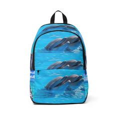 Dolphin Fabric Backpack Ocean School Student Beach Bag Book Computer Back to School College Backpacks, Cool Backpacks, Fashionable Backpacks For School, Waterproof Backpack, Messenger Bags, Pet Gifts, Gifts For Boys, Outdoor Travel, Dolphins