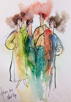Watercolor and line Watercolor Ideas, Rye, Watercolours, Silhouettes, Art Ideas, Mixed Media, Sketch, Abstract, People