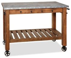 Abbott Zinc-Top Island - traditional - kitchen islands and kitchen carts - - by Pottery Barn