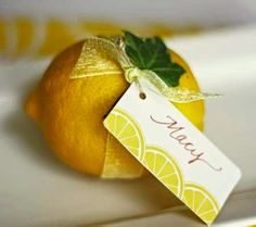 Cute lemon place card idea ~ would use sheer tiffany blue ribbon with some blue on the card ~ Wedding Place Cards, Our Wedding, Lemon Party, Party Fiesta, Wedding Shower Decorations, Yellow Wedding, Party Entertainment, Deco Table, Party Planning