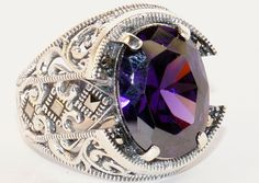 925 STERLING SILVER MEN'S RING WITH TOTALLY HANDMADE REAL AMETHYST #Handmade