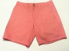 Bonobos 30 Men's Cotton Pink Coral Salmon Shorts Washed Chinos #Bonobos #FlatFront