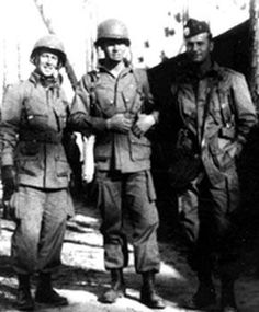 A rare 1943 photo showing Lt Ron Speirs at right, with 2 members of C/506th. Lt Speirs trained with C Co. before being transfered to 2nd Bn