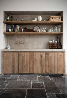 In love with these floors and the rawness of the wood cabinets. In love with these floors and the rawness of the wood cabinets. Concrete Kitchen, Wooden Kitchen, Kitchen Flooring, Rustic Kitchen, New Kitchen, Kitchen Decor, Kitchen Ideas, Reclaimed Wood Kitchen, Dark Flooring