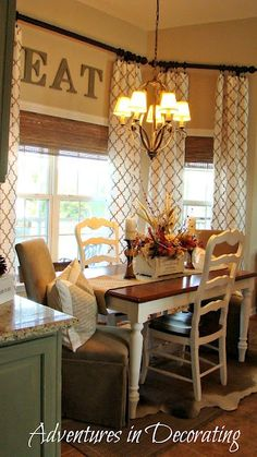 "*French Country* Breakfast Area *French Country* Breakfast Area - I love the long curtains with the ""surprise"" letters behind them!*French Country* Breakfast Area - I love the long curtains with the ""surprise"" letters behind them! Kitchen Redo, New Kitchen, Kitchen Dining, Kitchen Remodel, Kitchen Ideas, Kitchen Nook, Kitchen Tables, Kitchen Windows, Kitchen Country"