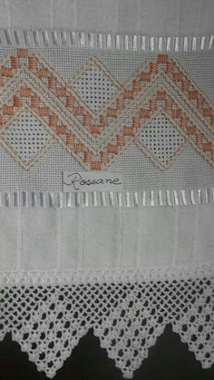 L Hardanger Embroidery, Hand Embroidery, Embroidery Designs, Swedish Weaving, Chicken Scratch, Curtain Designs, Bargello, Hobbies And Crafts, Tea Towels