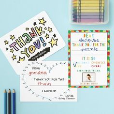 Kids Thank You Cards: Keep the tradition of thank you cards going by having the kids color in these new Color-In thank you cards that'll have them expressing their creativity with glee.