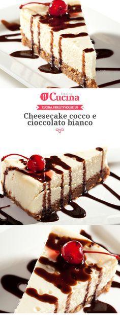 Cheesecake cocco e cioccolato bianco Cheesecake Trifle, Cheesecake Cookies, Bakery Recipes, Cupcake Recipes, My Favorite Food, Favorite Recipes, Flan, Ice Cream Cookies, Love Food
