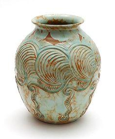 Glazed earthenware vase with relief-decoration, design Wim Visser, executed by de Sphinx, Maastricht / the Netherlands ca.1950 Executed de Sphinx, Maastricht / the Netherlands