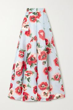 Multicolored silk-organza Concealed hook and zip fastening at front silk Dry clean New York Fashion, Fashion News, London Fashion, Frock Fashion, Next Clothes, Silk Organza, Floral Style, Carolina Herrera, Wide Leg Pants
