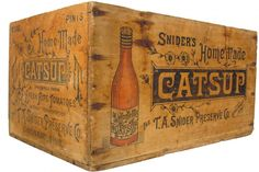 Snider's Catsup Wood Shipping Crate - shipping crates Vintage Crates, Vintage Trunks, Vintage Wood, Vintage Antiques, Pallet Crates, Old Crates, Wooden Crate Boxes, Wooden Bowls, Old Tables