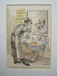 Vintage Bilder - °Herrenfriseur / Barber° Orig. von 1935 Karikatur - ein Designerstück von Sammel-Leidenschaft bei DaWanda