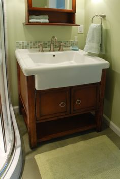 Terrific Farmhouse Sink Bathroom Vanities Using Semi Recessed Rectangular Basin With Brushed Chrome Faucet On Wooden Cabinet Including Brass Ring Pull