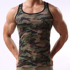 ff80a513b48b3 Summer Singlets Camouflage Undershirt Men s Fitness Tank Tops Military  Style