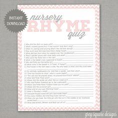 Nursery Rhyme Quiz - Baby Shower Game - Pink Chevron