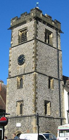 """St. Albans, ENGLAND -- MEDIAEVAL TOWN BELFRY  --  Between 1403 and 1412 Thomas Wolvey, the Royal Mason, was engaged to build """"Le Clokkehouse"""" in the Market Place. It is the only extant mediaeval town belfry in England. The Tower was used as a semaphore station from 1808 to 1814 during the Napoleonic Wars."""