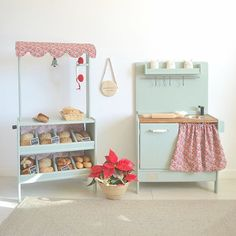Wooden toy market and kitchen Toys Market, Play Market, Wooden Toy Kitchen, Wooden Toys, Inspiration For Kids, Playroom, Kids Room, Dramatic Play, Bed