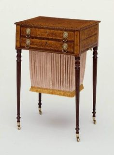 Mahogany work table, 1800-10. Furniture forms became increasingly specialized in the late-eighteenth century. This worktable was made especially for women, to store sewing equipment and materials. It has two drawers and a sliding frame that holds the attached bag. MFA